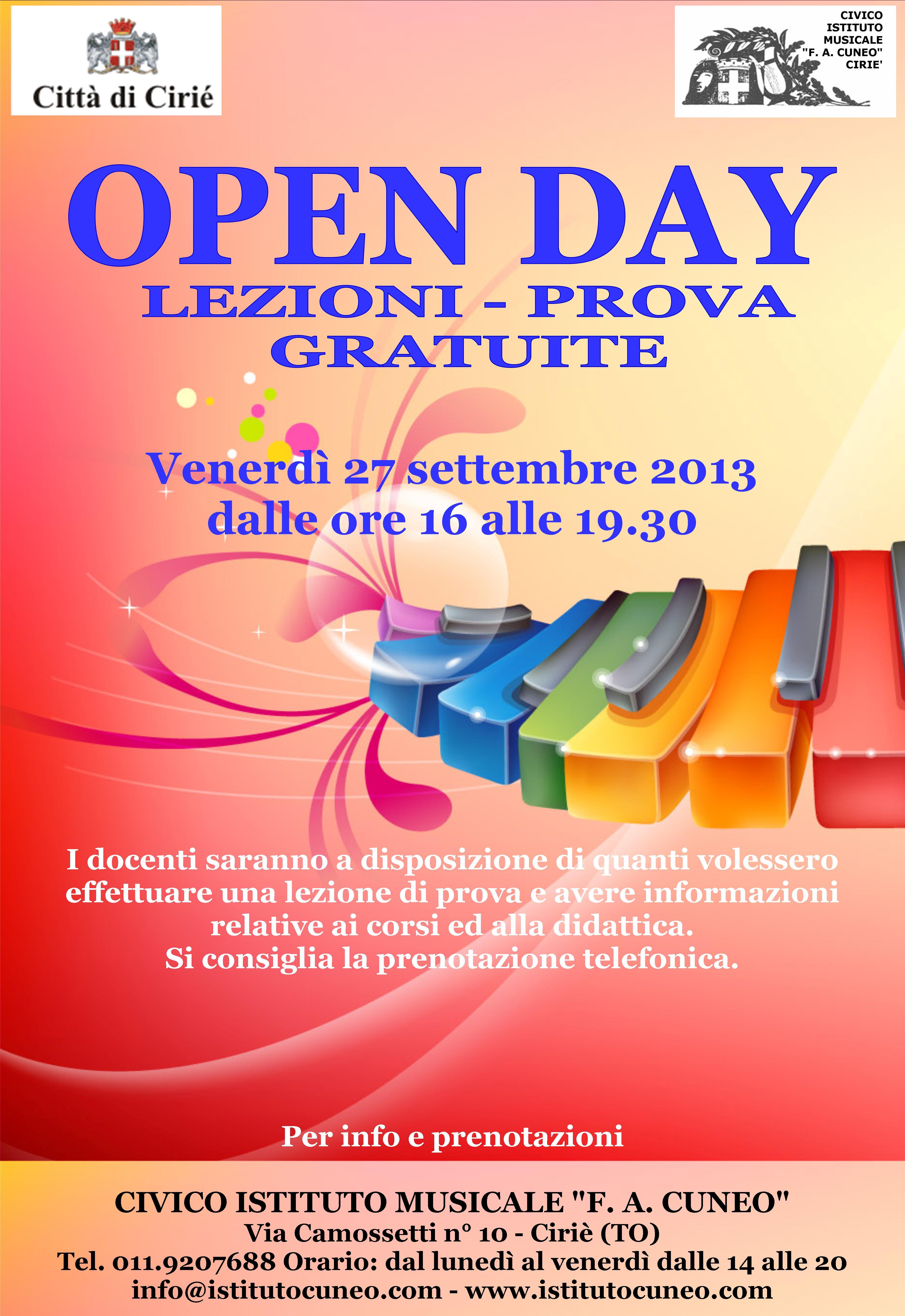 """Venerdì 27 settembre 2013 """"OPEN DAY"""""""