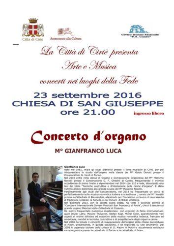 Venerdì 23 settembre - Chiesa di San Giuseppe - Concerto di Organo del M° Gianfranco Luca