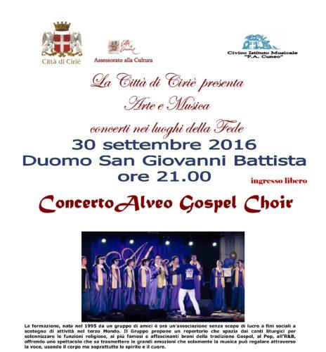 Venerdì 30 settembre Duomo San Giovanni Concerto ALVEO Gospel Choir