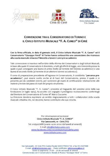 """Convenzione tra il Conservatorio di Torino e il Civico Istituto Musicale """"F. A. Cuneo"""" di Ciriè"""